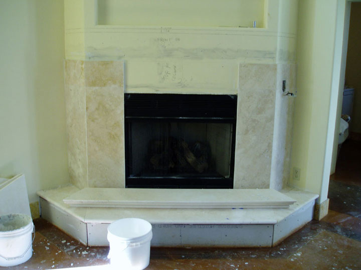 Limestone granite fireplace hearth