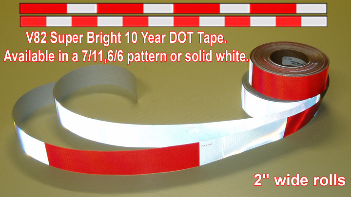 """WHITE RED Reflective  Conspicuity Tape 2/"""" x  50 feet 7-11 DOT-C2"""